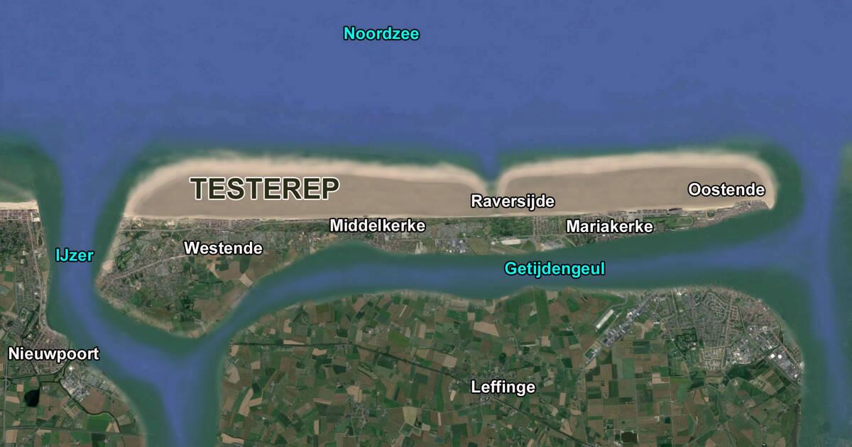 Het verdronken eiland testerep - In het midden eiland grootte ...