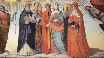 Philipp Veit: Dante en Beatrice bij de wijsgeren (links staat Thomas van Aquino, Siger van Brabant staat rechts)
