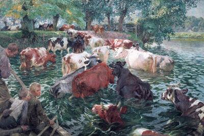 Koeien bij het oversteken van de Leie - Emile Claus