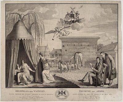 De plegtige terugkomst der ontvoerde voorwerpen van kunst en wetenschap, gravure van J.J Verellen