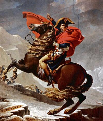'Napoleon steekt de Alpen over bij de St. Bernardpas'
