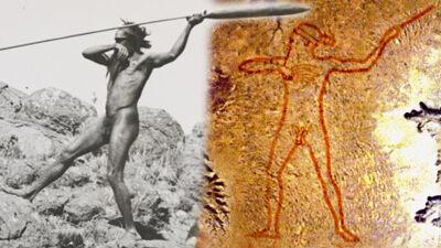 Aboriginal jager met werpspeer / Marree Man