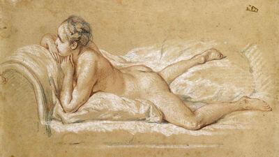 François Boucher: schets voor Jeune fille couchée (1751)