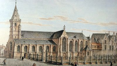 Oude Sint-Pieterskerk met houten loopbrug