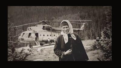 Agafia bij de helikopter
