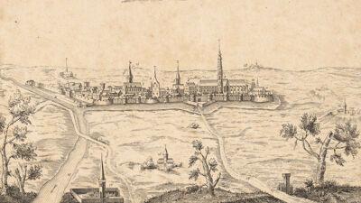 Oude prent met zicht op de stad Thérouanne
