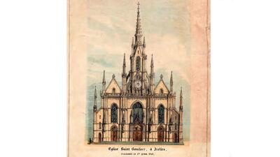 Oude prentkaart van Sint-Bonifatiuskerk, Elsene