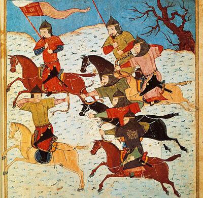 Mongoolse ruiters met vlag en boog