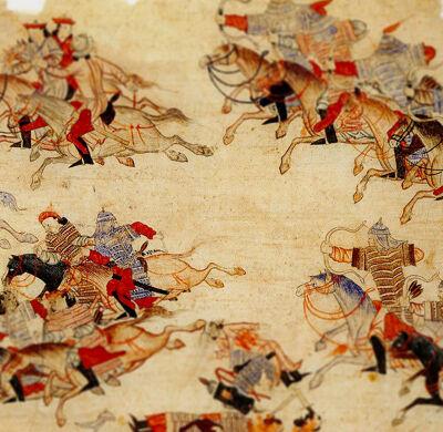 Mongoolse ruiters te paard