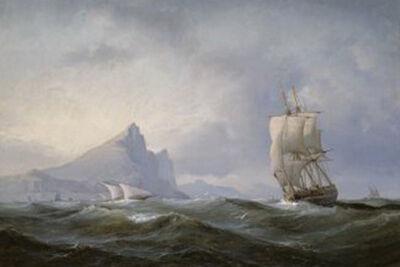 Schip zeilt weg van Gibraltar