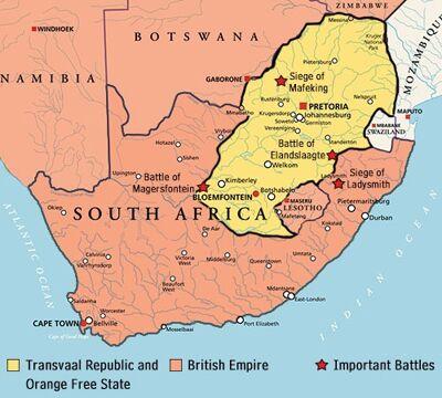 Kaart ten tijde van de  Tweede Boerenoorlog