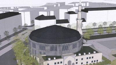 Renovatievoorstel voor de moskee met aluminium gevel