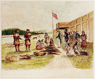 Pelshandelaars bij Fort Nez Percés in 1841