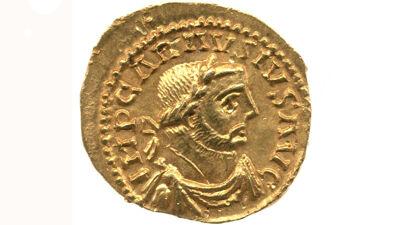 Gouden munt van keizer 'imperator' Carausius