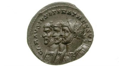 Munt met Carausius, Diocletianus en Maximianus