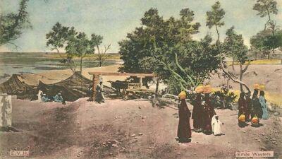 Ingekleurde postkaart van het panorama