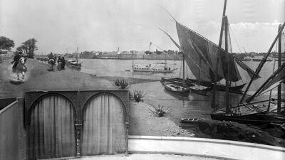 Zeldzame foto van het panorama met zicht op de Nijl