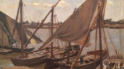 Schilderij (voorstudie) van Emile Wauters: Boten op de Nijl
