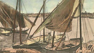 Ingekleurde postkaart met een fragment van het panorama