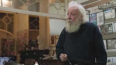 Fred Bervoets aan het werk in zijn atelier