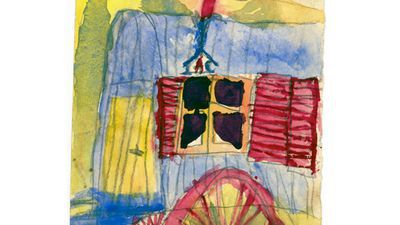 Woonwagen van zigeuners. Kindertekening van Jan Yoors.