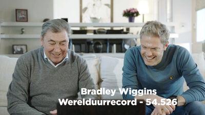 Op de foto: Baanwielrennen: Maarten en Eddy Merckx