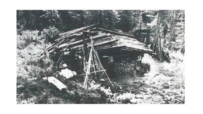 De primitieve hut van de Lykovs