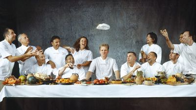 Campagnefoto van de Britse tv-kok Gordon Ramsay