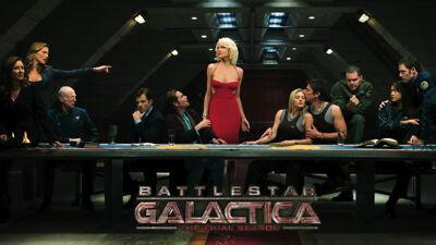 Reclame voor de SF-serie 'Battlestar Galactica'