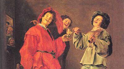 Judith Leyster: Vrolijk Gezelschap (1629), voorstelling van feestvierders, drie vrouwen in mannenkleren