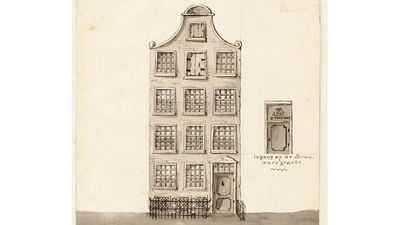 Voorgevel van De Posthoorn, een katholieke schuilkerk in Amsterdam