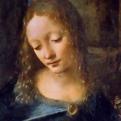Maria, detail van De Maagd op de Rotsen