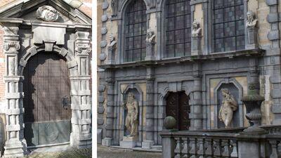 Hooghuis / Barokke tuingevel van Rubenshuis: bemerk de overeenkomsten van de geblokte pilasterzuilen