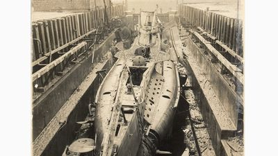 Duitse U-boot in het droogdok