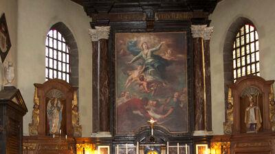 Maria-altaarstuk in de kapel Notre-Dame de Bon Vouloir, Bergen (Havré), geschilderd door Anna Francisca De Bruyns