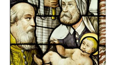 Detail van het Besnijdenisglasraam in de Antwerpse kathedraal