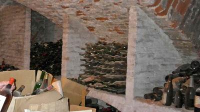 Kelder onder het college, vol lege wijnflessen