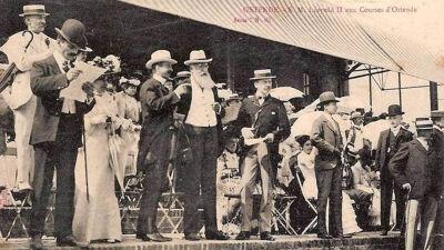 Koning Leopold II op de Wellingtonrenbaan in 1905