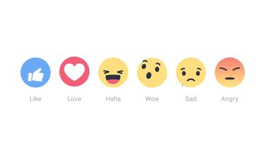 De verschillende buttons waarmee je kan reageren op Facebook