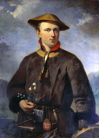 Linneaus in traditionele Sami-kleding, met het linnaeusklokje in de hand