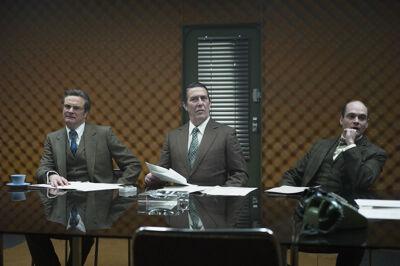 Bill Haydon (Colin Firth), Roy Bland (Ciaran Hinds) en Toby Esterhase (David Dencik).