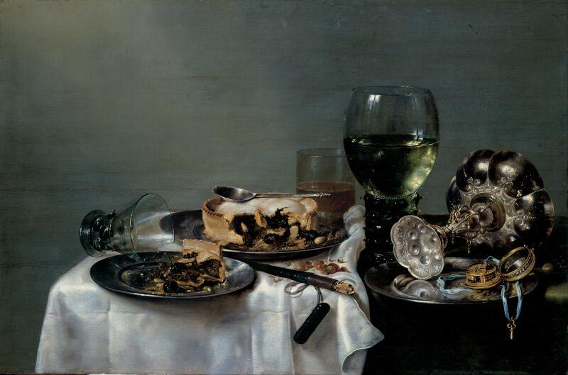 Willem Claeszoon Heda. Ontbijttafel met braambessentaart, 1631