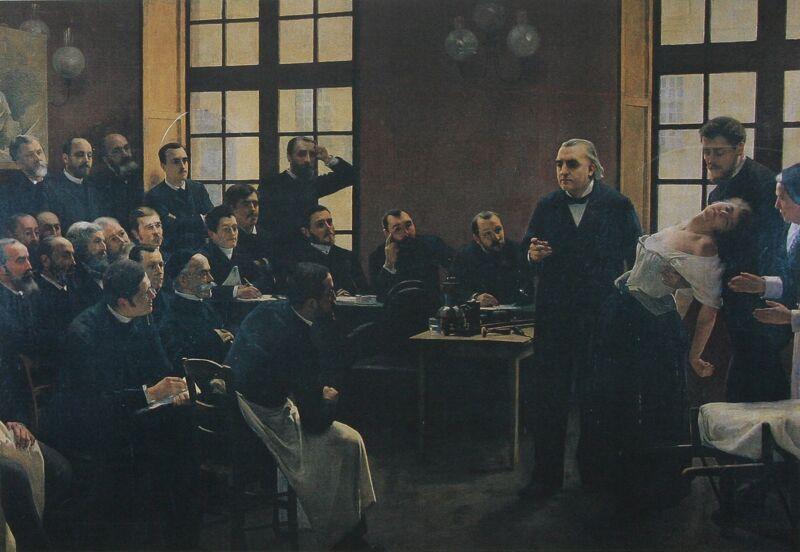 Een dinsdagsessie in La Salpetrière : Jean-Martin Charcot doceert aan de hand van een hysterische vrouw; Albert Londe in het publiek