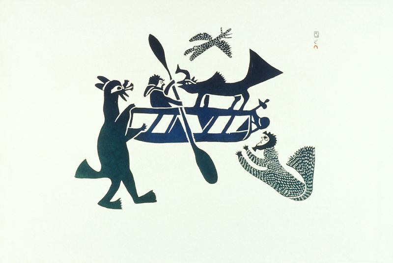 Perils of the hunter(1970).Collection of the West Baffin Eskimo Co-Operative Ltd., on loan to the McMichael Canadian Art Collection