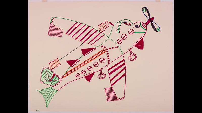 Film-still from Fish Plane, Heart Clock (2014) showing a drawing by Pudlo Pudlat. Courtesy of McMichael Canadian Art Collection,Dorset Fine Arts, Arvo Leo
