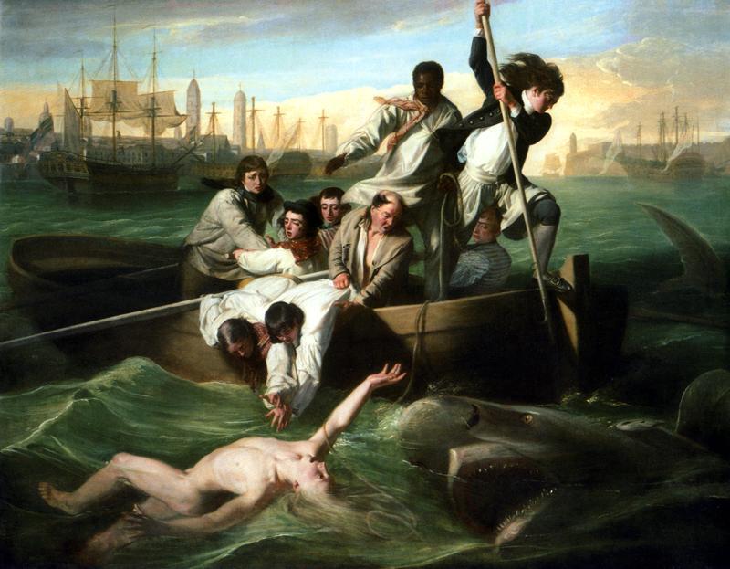 Een levendige voorstelling van het droeve lot van de veertienjarige Brook Watson, die nietsvermoedend van de steven van zijn schip dook in Havana Harbor.