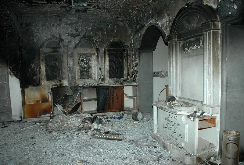 De vernielde Um al-Zinar kerk in Homs.