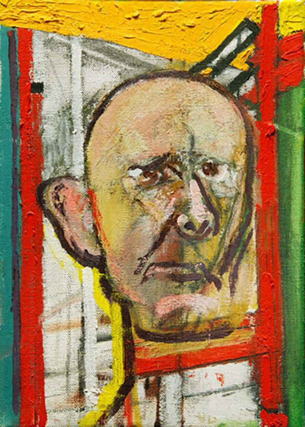 1998 self portrait with easel 355x250mm