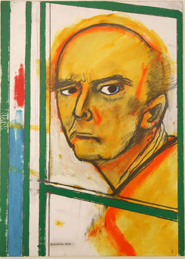 1996 self portrait with easel yellow & green 46x35cm, 1 jaar na de diagnose van Alzheimer