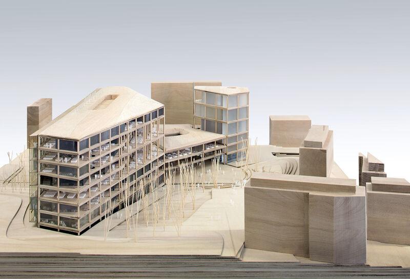 Maquette van het winnende voorstel voor de nieuwbouw